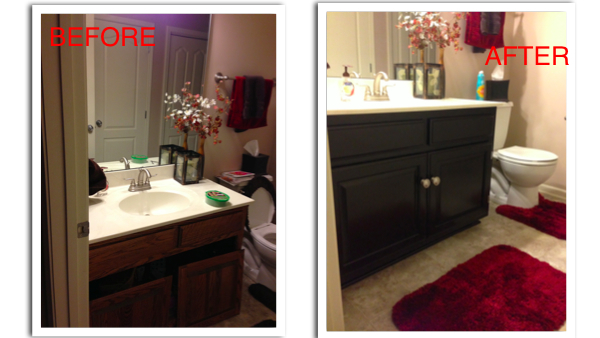 Guestbathroom  double bathroom vanity. how to refinish your bathroom vanity cabinets for a fresh new look